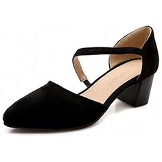 Women's Imitated Suede Solid Pull On Pointed Closed Toe Kitten Heels Pumps Shoes -- You can find more details by visiting the image link. (This is an affiliate link) #Pumps