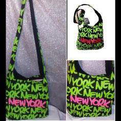 7bd8577fc4 Shop Women's Robin Ruth Pink Green size OS Crossbody Bags at a discounted  price at Poshmark. Description: Robin Ruth Neon New York Logo Crossbody bag .New.