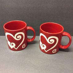 Waechtersbach Germany Red White Heart Swirl Ceramic Coffee Mug Tea Valentines #Waechtersbach