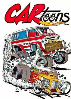 cartoons magazine artwork Monsters in Hot Rods and other cool stuff HobbyTalk Car Drawings, Cartoon Drawings, Cartoon Art, Cars Cartoon, Weird Cars, Cool Cars, Cartoons Magazine, Monster Car, Car Illustration