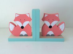 Fox Bookends Coral Pink and Aqua Blue Woodland by MapleShadeKids