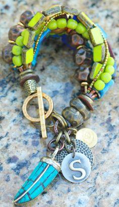 Customized Arizona Desert Charm Bracelet: Desert Inspired Copper, Gold, Blue, Purple & Green Glass Charm Bracelet $225
