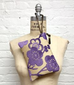 Purple velvet floral wristlet clutch / Violet by GirlGeniusGoods