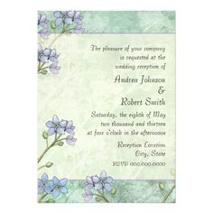 Forget Me Not Floral Spring Wedding Reception Announcements