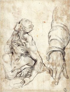 "Agnolo Bronzino (Agnolo di Cosimo di Mariano Tori) (Italian, Monticelli 1503 - 1572 Florence), ""Reclining Figures and Studies of an Arm and Hands for Moses Striking Water from the Rock,"" circa 1542-43."