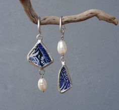 Asymmetrical Pottery Earrings with Pearls Blue Beach Pottery Sea Tumbled Pottery by StaroftheEast on Etsy https://www.etsy.com/listing/212385614/asymmetrical-pottery-earrings-with