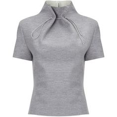 Lee Grey Wool Gathered Neck Top and other apparel, accessories and trends. Browse and shop related looks. Fashion Details, Look Fashion, Diy Fashion, Ideias Fashion, Womens Fashion, Fashion Design, Short Sleeve Collared Shirts, Collar Shirts, Collar Blouse