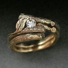 #gold #leaf #natual #diamond #engagement