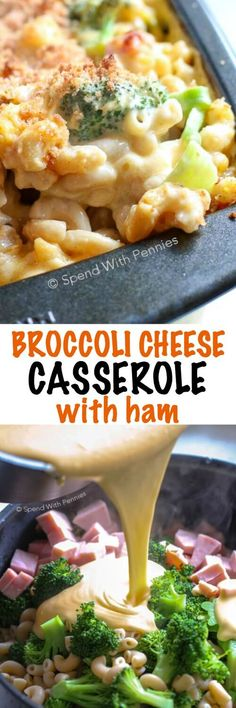 This Broccoli Cheese Casserole is a family favorite! Pasta broccoli and tender ham is tossed in a quick and easy from scratch cheese sauce. This casserole is then topped with breadcrumbs and baked until bubbly and golden. The kids love this dish just as Broccoli Cheese Casserole, Potatoe Casserole Recipes, Broccoli And Cheese, Casserole Dishes, Pasta Cheese, Ham Pasta, Ham Mac And Cheese, Pasta Casserole, Pasta With Ham