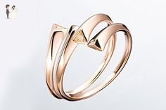 Minimalist Promise Ring in 14k Rose Gold & Diamond / High Jewelry - Unique design , Alternative engagement ring - GALLA by Majade (Pair Set) - Wedding and engagement rings (*Amazon Partner-Link)