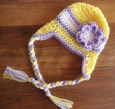 Crocheted Baby Girl Ear Flap Hat with Braided by KaraAndMollysKids, $20.50