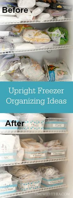 Upright Freezer Organizing Ideas ~ Tips and ideas for organizing your upright freezer using a labeled bin system so it easy to find and keep track of foods! | Time With Thea