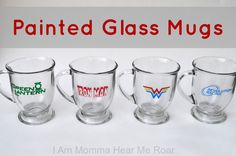 Super hero painted glass mugs made with the DecoArt Gloss Enamels line and a @silhouettepins