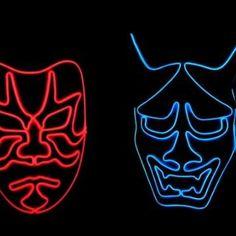 暗闇で目立ちすぎる仮装マスクLuminary Maskは「Makuake」で先行予約受付中! #makuake#歌舞伎#般若面 Neon Signs