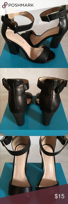 "Cathy Jean black heels with Velcro ankle straps Cathy Jean black high heels with Velcro ankle straps. 2"" high heels.  Cathy Jean Shoes Heels"
