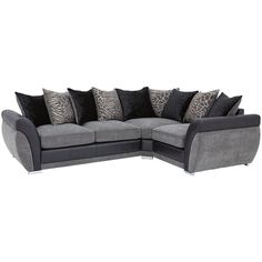 Hilton Right-Hand Double Arm Corner Group Sofa (£719) ❤ liked on Polyvore featuring home, furniture, sofas, island furniture, chrome furniture and colored furniture