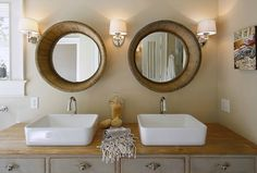 Maeve's Way - bathrooms - blue, Turkish, bath, towels, wood, barrel, mirrors, repurposed, double bathroom vanity, wood, top, white, porcelain, vessel, sinks, sand, walls, wood barrel mirror, barrel mirror,