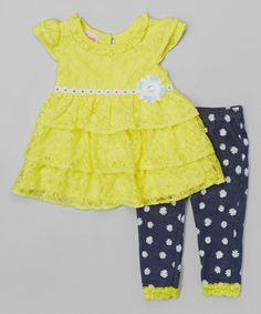 Look at this #zulilyfind! Yellow Lace Tiered Dress & Polka Dot Leggings - Toddler & Girls #zulilyfinds