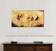 Pintura al óleo abstracta, pintura de bailarina de Ballet, arte de pared de la lona, lienzo abstracto arte, Impasto pintura, abstracto arte, pintura sobre lienzo de pared