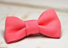 Barrette bébé clic-clac petit nœud / Corail : Accessoires coiffure par noeud-vous-deplaise