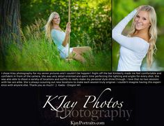 I love what I do and love my customers.  #Passionate about #SeniorPics.  www.kjayportraits.com Beautiful senior pictures for girls.  The swing adds to the fun.