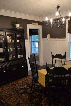 Dining room. Love the gray walls. via Newlywoodwards blog