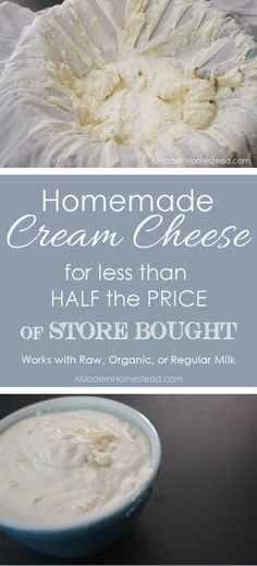 Homemade Raw Organic Cream Cheese for less than half the price of store bought! It's super easy and only takes 2 ingredients!