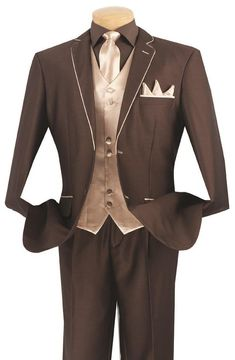 Michelangelo Collection - Shark Skin Classic Fit 3 Pieces 2 Buttons Brown / Beige