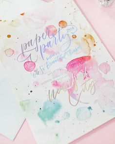 665b13282074 Paper Party 2016 Rainbow Watercolor and Hologram Foil Invitations   Design  by Ashley Buzzy   Printed