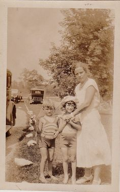 Vintage Antique Photograph Mom With Two Adorable Little Children Antique Cars