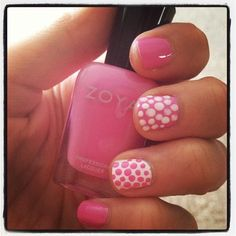 Polka dot mani featuring Zoya Nail Polish in Shellby and Purity