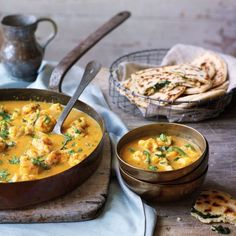 Goan fish curry with garlic and coriander naans - curry recipes - Good Housekeeping