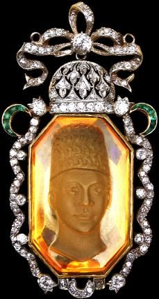 Large Carved Citrine Pendant of a Qajar Prince (possibly Ahmad Shah) set in Gold with Diamonds & Emeralds Qajar Persia circa 1900