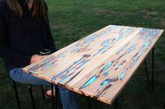 Como fazer uma linda mesa de madeira que brilha no escuro! - limaonagua