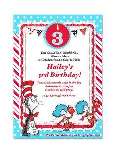 Dr. Seuss Birthday Invitation by MyFashionLoveParty on Etsy, $5.00