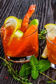 Momma always said, you need to eat your vegetables!! This version of the bloody mary is packed full of veggie goodness, with a few shrimp added for good measure. It has a spicy kick that is delish! Fall Cocktails, Bloody Mary, Moscow Mule Mugs, Delish, Spicy, Good Things, Vegetables, Tableware, Shrimp