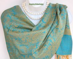 Blue Pashmina Scarf.Blue Turquoise & Golden by HappyIdeology