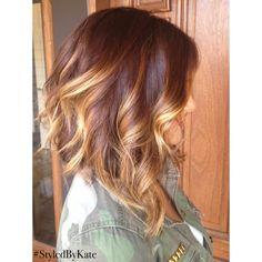 Brunette balayage a-line bob hair style