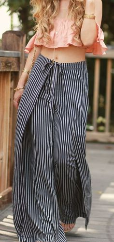 ruffle crop top with stripe wide leg pants and straw hat for a casual summer vacation outfit Fashion Pants, Boho Fashion, Fashion Outfits, Fashion Styles, Fashion Ideas, Fashion Clothes, Trendy Fashion, Fashion Design, Fashion Tips