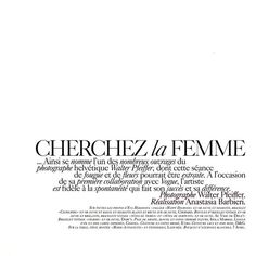 Cherchez la Femme | Fashion Gone Rogue ❤ liked on Polyvore featuring text, words, backgrounds, quotes, articles, magazine, fillers, phrase and saying