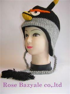Woolen Animal Hand Made Knitt Hat Black Angry Bird!