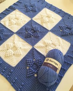 These beautiful popcorn stitch flower squares joined together will be perfect for a baby blanket or you can use one or a few as an eye-catching elements. Crochet Squares, Crochet Blanket Patterns, Baby Blanket Crochet, Baby Knitting Patterns, Crochet Stitches, Crochet Blanket Tutorial, Love Crochet, Knit Crochet, Beautiful Crochet