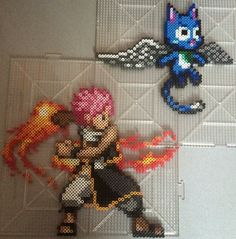Perler of Natsu and Happy from Fairy Tail! The sprites come from a DS Fighting game so happy looks a lot larger than he really should be >.< The sprite is from a nintendo DS game Fairy Tail G...