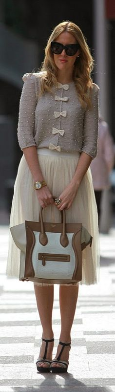 Lovely Front Bows Sweater with Cream Tulle Skirt |...