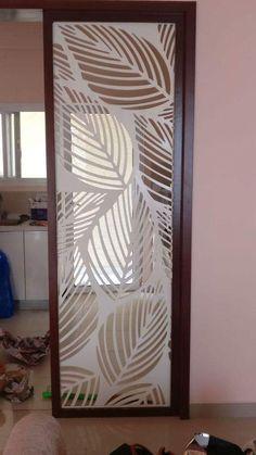 25 Trendy pooja room door design cnc - One Glass Partition Designs, Living Room Partition Design, Pooja Room Door Design, Bedroom False Ceiling Design, Glass Wall Design, Jaali Design, Decorative Room Dividers, Room Divider Walls, Plafond Design