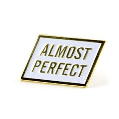 """*NOTE* Pin is actually perfect Gold pin with white enamel Rubber backing Measures .875"""" wide"""