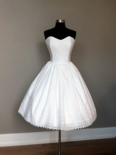 50's inspired cotton eyelet tea length wedding dress $425