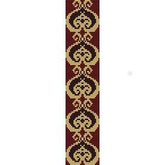 GOLD HEART DAMASK  - SALE LOOM beading pattern for cuff bracelet (buy any 2 patterns - get 3rd FREE)