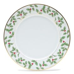 """Found it at Wayfair.ca - Holly and Berry Gold 10.5"""" Dinner Plate"""