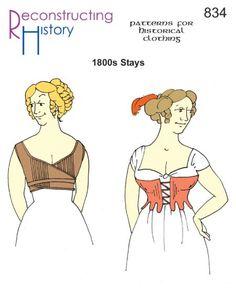 - Early Regency Era Stays Sewing Pattern by Reconstructing History Regency Dress, Regency Era, Regency House, Corset Sewing Pattern, Sewing Patterns, Bra Pattern, Vintage Patterns, Vintage Sewing, Sewing Ideas